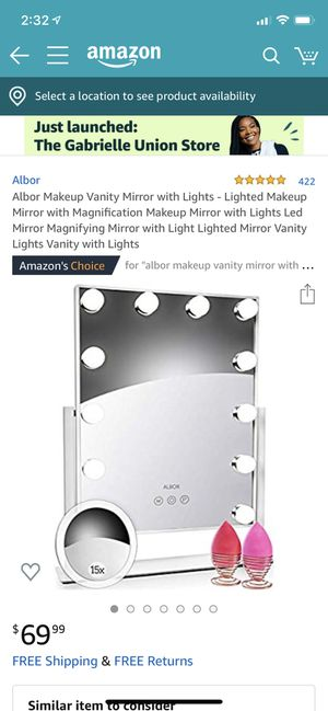 Albor Makeup Vanity Mirror with Lights - Lighted Makeup Mirror with Magnification Makeup Mirror with Lights Led Mirror for Sale in Del Sur, CA