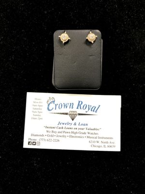 10k Yellow Gold Diamond Earrings for Sale in Chicago, IL