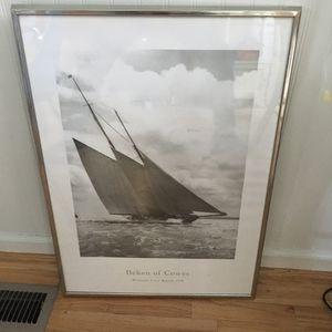 Soaring Silver Framed Photo Of Sailing vessel Westward at Cowes Regatta 1930 for Sale in Kirkland, WA