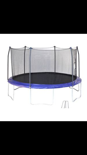 14ft Trampoline with Enclosure safety padding and latter! MUST BE ABLE TO UNASSEMBLE THE TRAMPOLINE! for Sale in Tacoma, WA