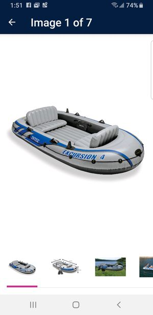 Intex Excursion 4, 4-Person Inflatable Boat Set with Aluminum for Sale in Houston, TX