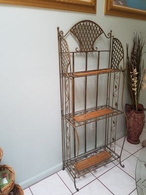 Collapsible Bakers Rack..Metal and Bamboo for Sale in Boynton Beach, FL