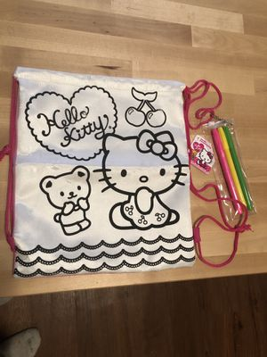 Hello kitty doodle draw string bag for Sale in Austin, TX