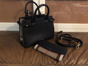 BURBERRY Banner Small Leather House Satchel Signature Purse Bag Wallet Set NWOT for Sale in Middletown, CT