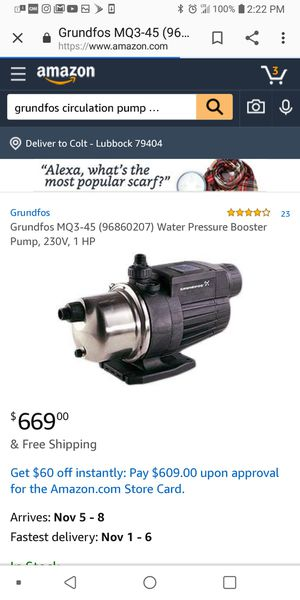 Grundfos Water circulation pump for Sale in Lubbock, TX