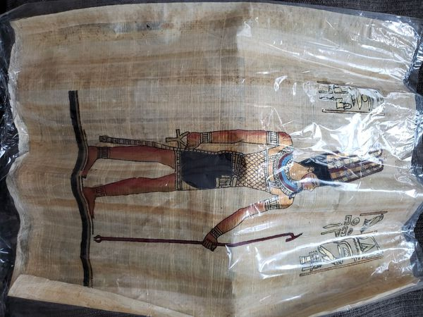 Egyptian papyrus paintings three total each 30 obo