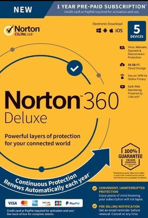 Norton 360 deluxe digital code (up to 5 devices covered) for Sale in Sacramento, CA