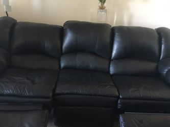 Leather Couch Black 84in Recliner Both Ends for Sale in Henderson,  NV