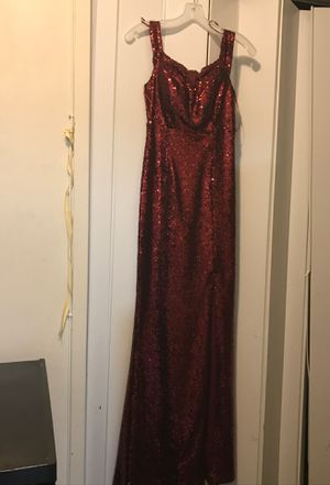 A Morgan & Co. Wine Red Dress brought from David's Bridal. The dress has only been worn once for a Prom event. This is an evening dress good for an a for Sale in Washington, DC