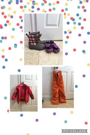 Kids ski gear (4 Y), two piece, snow boots and mittens for Sale in Miami, FL