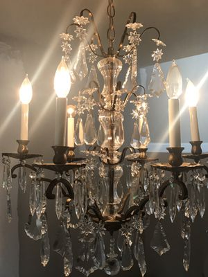Bronze French style cut glass antique chandelier. for Sale in Miami, FL