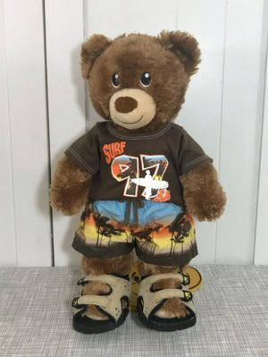 "Build a Bear Brown Teddy Bear Plush 16"" Tall with Surf 97 Beach Clothes for Sale in Greenwich Township, NJ"