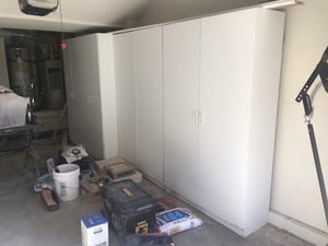 Free storage shelves with doors for Sale in Foster City, CA