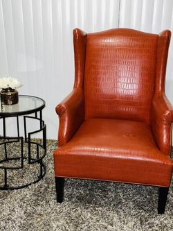 Accent Chair . Single Sofa . Vinatage Accent Chair . Sofa . Single sofa .Luxury Red .accent chair /Leather cigar chair /Red leather accent chair . for Sale in Bloomington,  CA