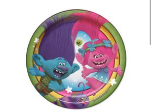 "7"" Trolls Round Paper Party Plate, 8ct for Sale in Auburn, GA"