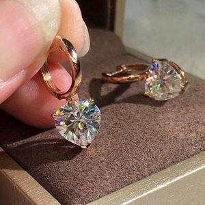 18K Rose Gold 1CT Heart Cut Diamond Dangle Hoop Earrings for Sale in Philadelphia, PA