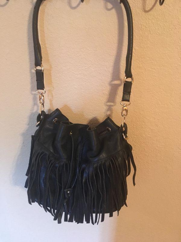My Choice Black Fringed leather Hobo Bag/Purse