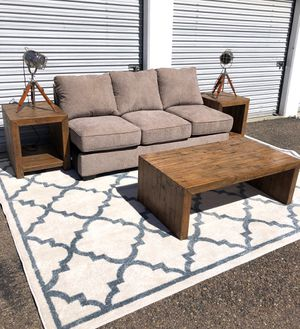 Brand new armless sofa with reclaimed coffee table & side tables for Sale in San Diego, CA