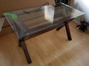Wood and Glass Top Table or Desk for Sale in Los Angeles, CA