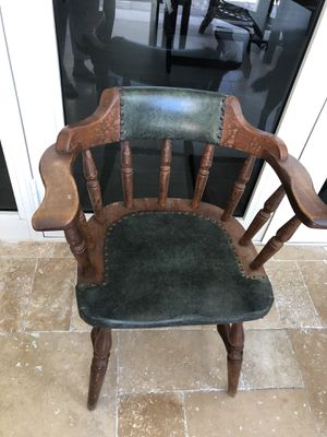 Unique Wood and Leather Antique Chair for Sale in Hollywood, FL