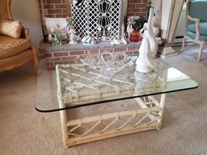 Ratan Glass top coffee table and 2 matching end tables for Sale in Toms River, NJ