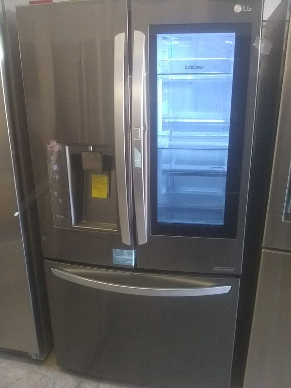 Knock knock LG door in door grab n go feature with water and ice dispenser on the front black stainless steel french-doors Refrigerator