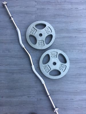 Weights Standard CurlBar 2x25lb Grip Plates for Sale in Riverside, CA