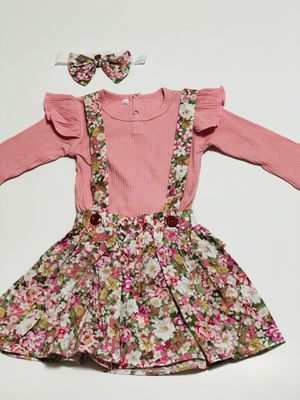 New!!! 3pcs Autumn Baby Girl Long Sleeve Ruffle Romper Flowers Dress with Headband for Sale in Miami, FL