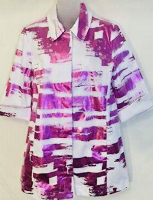 Berek Womens Jacket Art to Wear Stretch Metallic Hot Pink White Fuchsia Medium for Sale in Queens, NY