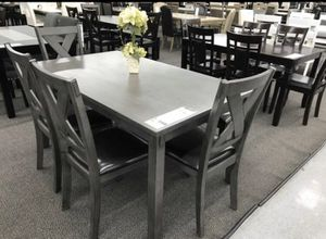 6pcs wooden table set wooden top/ grey finish for Sale in Downey, CA