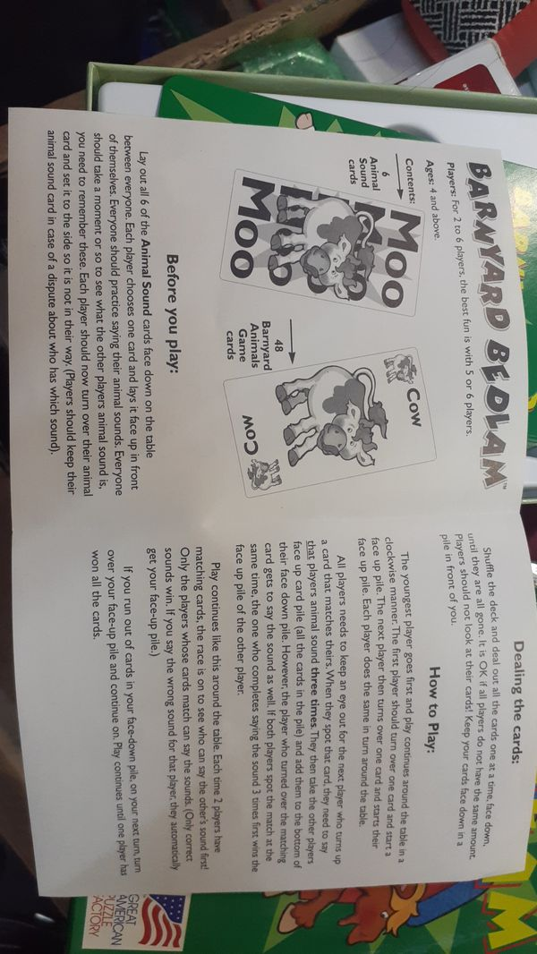 Memory card game - Barnyard Bedlam Ages4+ Great American Puzzle Factory