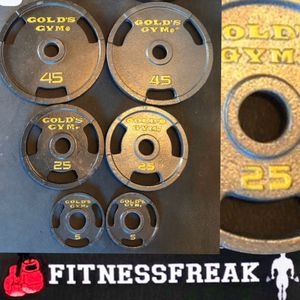 150 lb GOLDS GYM OLYMPIC GRIP PLATE WEIGHT SET for Sale in Spring Valley, CA