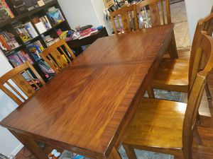 Dining table with 6 chairs and leaf for Sale in Sun City, AZ