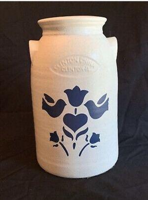 CLINTON CHINA Clinton IL Stoneware Milk Can Crock Lamp Base Blue Speckle Birds for Sale in Grand Rapids, MI