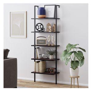 Nathan James Theo 5-Shelf Ladder Bookcase Walnut Brown Wood Black Metal Frame for Sale in Henderson, NV