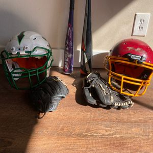Helmet, Bats, Baseball Gloves for Sale in Downey, CA
