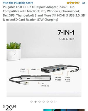 USB C-Hub Multiport Adapter (3 USB, HDMI, SD card, etc) for Sale in Ontario, CA
