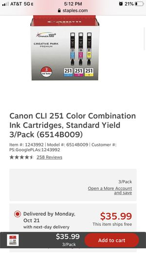 Canon 251 color ink combo for Sale in Blue Island, IL