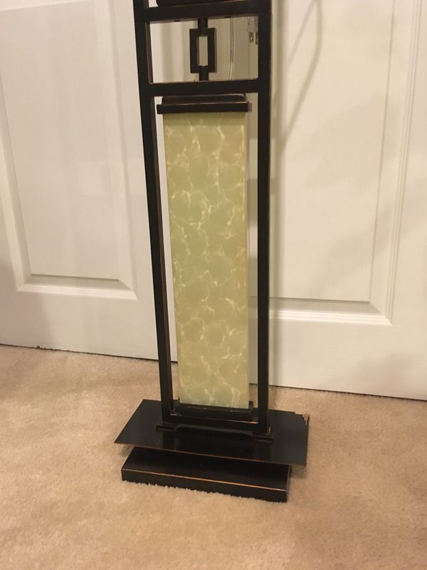 Marble and black steel floor lamp