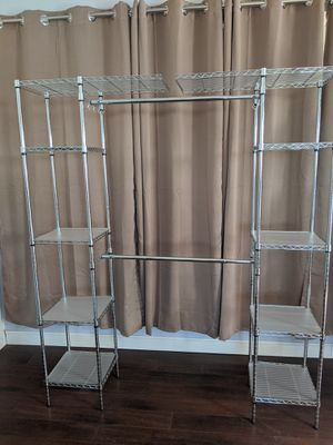 High quality, heavy duty, Metal Closet organizer system, excellent condition!! 8 shelves, 1 XL top shelf, 2 rods for Sale in Revere, MA