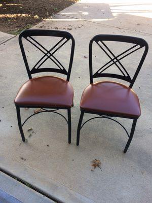 Metal chairs with faux leather seats for Sale in Cary, NC