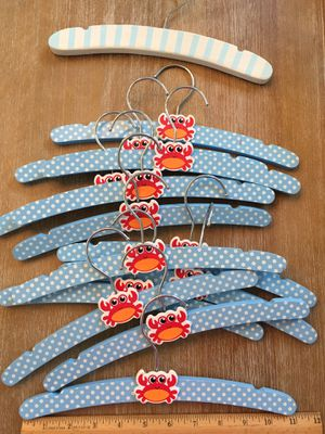Baby crab hanger wood blue polka dots for Sale in North Palm Beach, FL