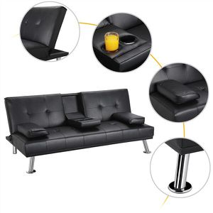 New LuxuryGoods Modern PU Leather Futon w/ Cupholders & Pillows, Black Description: High Quality Material: the sofa bed is made of high quality art for Sale in Houston, TX