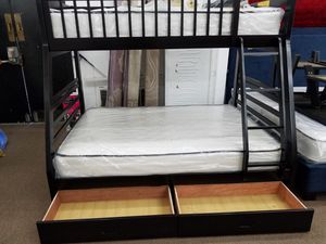 $120 per 2 weeks 3 months no interest twin full espresso wood bunkbed with mattresses and understorage for Sale in College Park, MD