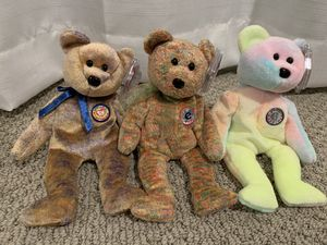 "Ty beanie baby bears ""speckles"" ""clubby3"" ""bb bear"" birthday bear. for Sale in Menifee, CA"