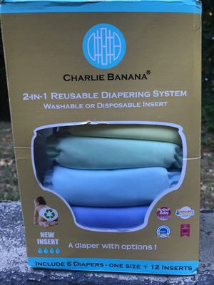 Charlie Banana 2-in-1 Reusable Diapering System - 6 Cloth Diapers + 12 inserts for Sale in Dallas, GA