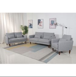 3PC Brand New Stationary Linen Fabric Living Room with Throw Pillows Sofa SET for Sale in Pomona,  CA