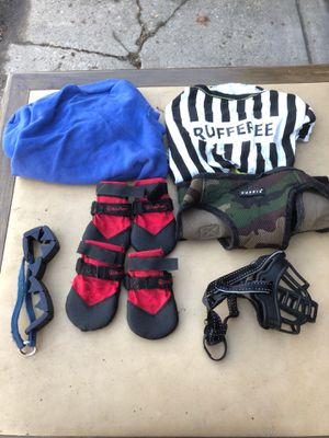 Medium size dog winter shoes. Pinch collar muzzle chest harness and two shirts. for Sale in Chicago, IL