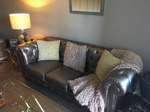 Silver Leather Sofa for Sale in Denver, CO