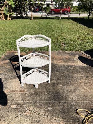 Wicker corner shelving shelf for Sale in West Palm Beach, FL